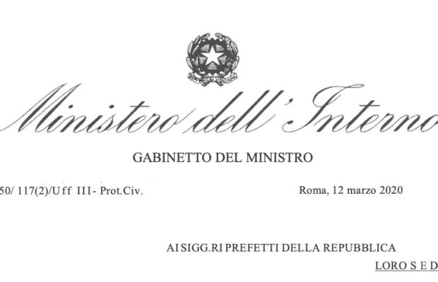 COVID19 – CIRCOLARE MINISTERO DELL'INTERNO DEL 19/05/2020