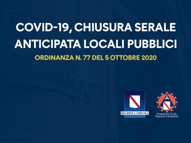 COVID-19, ORDINANZA N. 77 DEL 05/10/2020