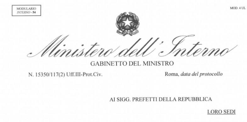[INFO] – Circolare Ministero dell'Interno